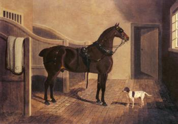 A Favorite Coach Horse and Dog in a Stable